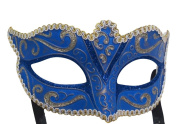 Mask & Co Mens or Ladies Quality Blue & Gold Venetian Masquerade Party Ball Eye Mask