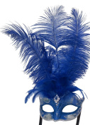 Mask & Co Ladies Quality Blue & Silver Feather Venetian Masquerade Party Ball Eye Mask