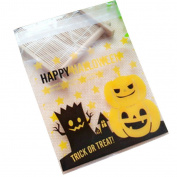 yipinco7285 100Pcs DIY Self Adhesive Pumpkin Bat Halloween Party Cookies Candy Food Bag Gift