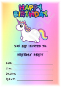 Unicorn Themed Childrens Birthday Party Invites - Cartoon Rainbow Design - Party Supplies / Accessories (Pack of 12 A5 Invitations)