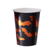 Ginger Ray Orange Foiled Bat Design Halloween Party Paper Cups x 8 - Pumpkin Party