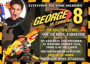 8 - Personalised Nerf gun/Nerf war/ Army Birthday Party Invitations+Envelopes