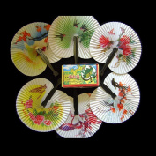 Haobase 12 Folding Paper Fans - Pretty Chinese Designs - Girls Party Loot Bag Filler