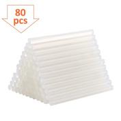TopElek 80Pcs Hot Melt Glue Sticks, 7mm Diameter, 100mm Length, for DIY Crafting and Repairs