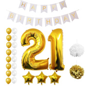 21st Happy Birthday Party Balloons, Supplies & Decorations by Belle Vous - All-in-One Set - Large 21 Years Foil Balloon - Gold and White Latex Balloon Decoration - Decor Suitable for All Adults
