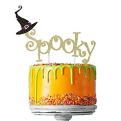 Spooky Halloween Cake Topper with Witches Hat - Glittery Gold Cake Topper