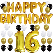 """KUNGYO 16TH Birthday Party Decorations Kit - Happy Birthday Balloon Banner, Number """"16"""" Balloon Mylar Foil, Black Gold White Latex Ballon, Perfect 16 Years Old Party Supplies"""
