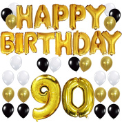 "KUNGYO 90TH Birthday Party Decorations Kit - Happy Birthday Balloon Banner, Number ""90"" Balloon Mylar Foil, Black Gold White Latex Ballon, Perfect 90 Years Old Party Supplies"