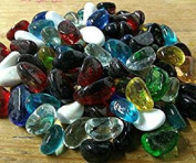 500g app 82 - 85 of Mixed Colours Bean Shaped Glass Pebbles/Stones/Gems/Nuggets /Beads 20mm