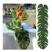 Lalang 12PCS Tropical Party Decorations Tropical Leaves Artificial Palm Leaves Hawaiian Luau Jungle Beach Theme Party Decorations