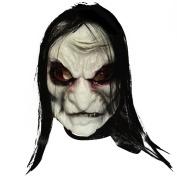 Chen Rui™ Halloween Horror Rubber Zombie Mask Headwear with Long Black Hair Fancy Dress Accessory
