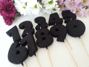 Birthday Number Candles Chunky Shape Black Colour Anniversary Glitter Cake Topper