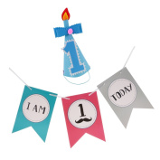 Sharplace Lovely Baby Boys Girls 1st Birthday Party Cone Hat and I AM 1 TODAY Hanging Garland High Chair Banner Baby Shower - Blue