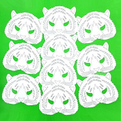 10 Plain Card Tiger Face Masks - Colour in Create Your Own Design