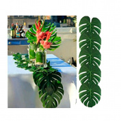 VWH 12pcs Tropical Palm Leaves Artificial Palm Leaves Table Mats Party Jungle Beach Theme Party Decorations Table Decoration