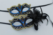 HIS N HERS PAIR OF CO-ORDINATED SPARKLING BLUE & GOLD VENETIAN MASQUERADE CARNIVAL PARTY EYE MASKS FOR COUPLES