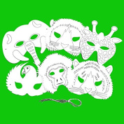 6 Plain Card Jungle Animal Face Masks - Colour in Create Your Own Design