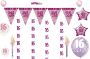 Pink Glitz 16th Birthday Banner Party Decoration Pack Kit Set