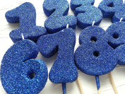 Birthday Number Candles Bubble Shape Royal Blue Colour Anniversary Glitter Cake Topper