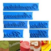 Gluckliy 6 Pcs Blessing Alphabets Letters Fondant Cake Decoration Biscuit Cookie Stamp Embosser Cutter Mould DIY Tool