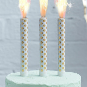 Ginger Ray 3 Pk Gold Foiled Polka Dot Birthday Ice Cake Fountain Sparklers Topper - Pick & Mix …