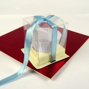 Clear Cupcake Boxes w/ Cream Inserts! PVC All Quantities [Single Box]