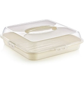 SQUARE Large Plastic Cake Storage Box Cupcake Caddy Carrier Container Tub Lid