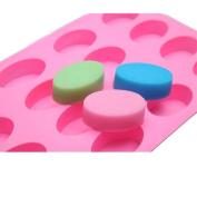 TIREOW Silicone Mini 16-Ellipse Oval Shape Pan DIY Mould Tools
