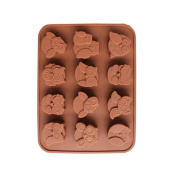 TIREOW Silicone Mini 12 Owls Shape Pan DIY Craft Cake Mould Tools