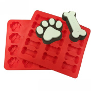 TIREOW Silicone 2pcs Food Grade Puppy Pets Dog Paws Bones DIY Cake Biscuit Mould Tools