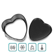 TIREOW Silicone Removable Bottom Pan Heart Shaped With Spring Latch Mould Tools