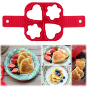 Non Stick Pancake egg Mould,Sansee Mould Ring Fantastic Fast & Easy Way To Make Perfect Cooking Four Holes DIY Pancakes Tool Red