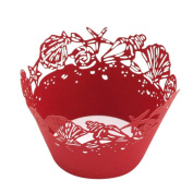 25pc Christmas Lace Cut Cupcake Wrapper Liner Baking Cup Muffin MML