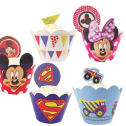 12x Party Cupcake Wrappers with Toppers! Kids Cartoon Superhero Disney[Flags]