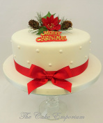 Christmas Poinsettia & Ivy Spray Motto ribbon & Bow Cake Topper Decoration Packs Red