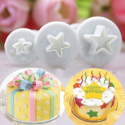 Jooks Star Cake Cutter Plunger Fondant Cake Decorating Plunger Sugarcraft Cake Flower Decor Cookie Cutters Bakeware Tools Cutter Mould Tools for Icing Cake Decoration 3pcs