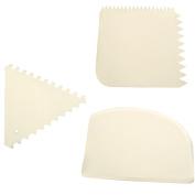 Set of Three Plastic Scrapers Cake Icing Cream Serrated Fondant