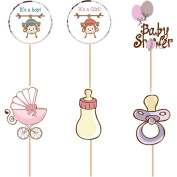 Kit 24 Cake Topper Muffin, Cupcakes Baby Shower Birth Birthday Party Decoration
