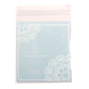 Lace Doilie Printed Cellophane Cookie Bags Clear[Corners Doilie Blue,50]