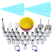 LIHAO Piping Nozzles Set with Reusable Piping Bags, Silicone Cupcake Moulds, Couplers, Flower Nails and Puff Nozzle