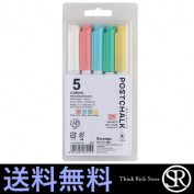 Common Japanese bamboo POST-990A/5V ZIG post chalk marker dry wipe five colours POSTCHALK MARKER DRY-WIPE common Japanese bamboo Kuretake POST990A aqueous pen board marker chalk style