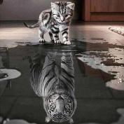 ZJENE Cat and Tiger DIY 5D Diamond Embroidery Painting Cross Stitch Home Decor Craft