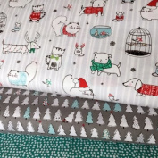 CHRISTMAS FABRIC BUNDLE - Christmas Pet Animals Trees Funky - Bundle - QTFB07 - by Quilting Treasures - 100% Cotton