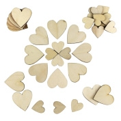 Whonline 100pcs Wooden Hearts Laser Cut Heart Shape Wood Slices (2 Types) for Wedding Christmas DIY Crafts