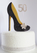 50th Black and Gold Birthday Cake Decoration Shoe with Crystal Flower Button Embellishments and Diamante Number Non- Edible