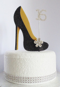 16th Black and Gold Birthday Cake Decoration Shoe with Crystal Flower Button Embellishments and Diamante Number Non- Edible