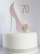 70th Pink and White Birthday Cake Decoration Shoe with Feathers and Crystal Flower Embellishments and Diamante Number Non- Edible