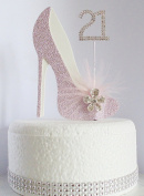 21st Pink and White Birthday Cake Decoration Shoe with Feathers and Crystal Flower Embellishments and Diamante Number Non- Edible
