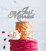 Just Married Cake Topper - Wedding Mr & Mrs Cake Topper - Silver