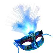 Hallowmas Masquerade Mask, HUHU833 Women Venetian LED Fibre Fancy Dress Party Princess Feather Masks